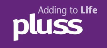 pluss logo linked to their website